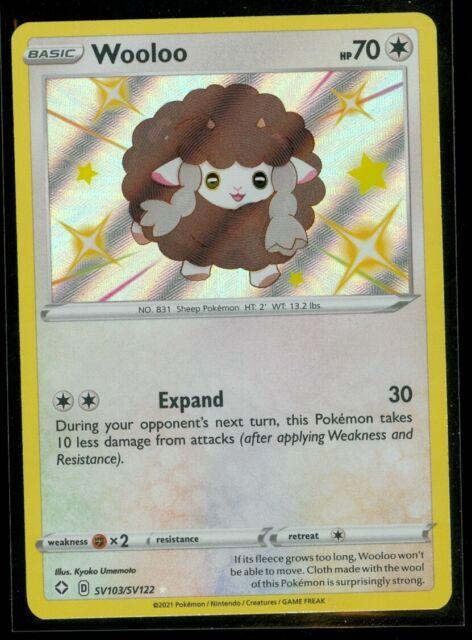 Pokemon SHINY WOOLOO SV103/SV122 Shining Fates RARE HOLO - MINT