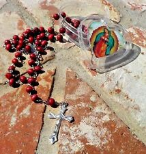 VIRGIN OF GUADALUPE WOOD BEAD ROSARY IN HEART BOX MEXICO RELIGIOUS FREE SHIPPING