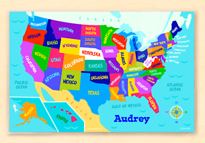Details about Map of United States Personalized Kids Placemat