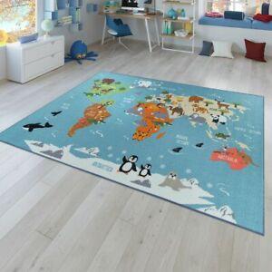Teppich Kinderzimmer Bunt Turkis Weltkarte Kontinente Globus Tiere