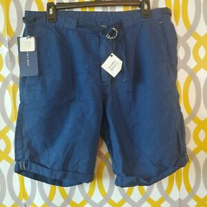 ZARA-MAN-Shorts-Mens-US-Size-32-Belted-Linen-Blend-Blue-Woven-Shorts-New-NWT