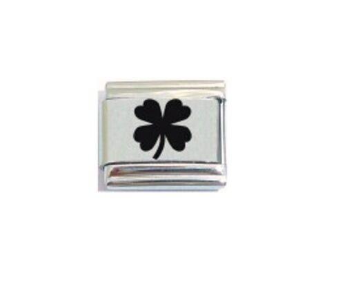 9mm Italian  L69   Shamrock Lucky Four leaf Clover Fits Classic Size Bracelet