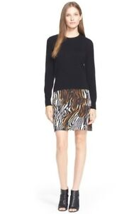 Equipment-039-Shirley-039-Silk-amp-Cashmere-Dress-Black-silk-animal-print-skirt-NWT-S