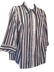 Lane Bryant Women's Blouse Size 18/20W Striped 3/4 Sleeve Button Down Shirt