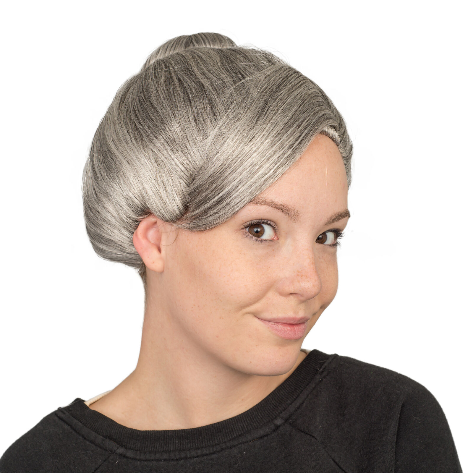 Granny Cosplay Wig with Hair Rollers for Halloween Costume Dress Up Party Old Lady Wig