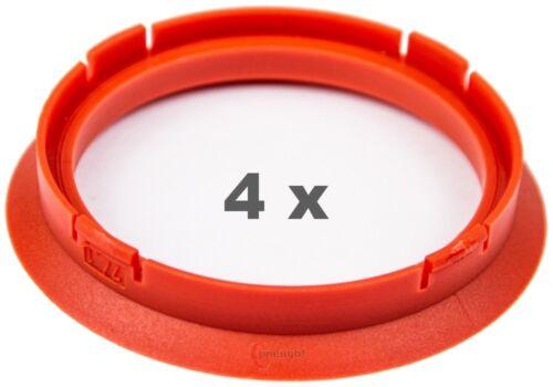 4 Piezas Anillas de centrado 74.1 mm a 63.4 mm rojo//red