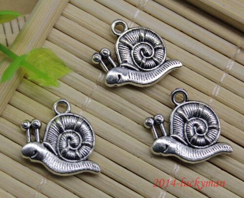 Lot 30//60//100pcs retro Jewelry Making DIY Snail alloy charms pendant 16x16mm