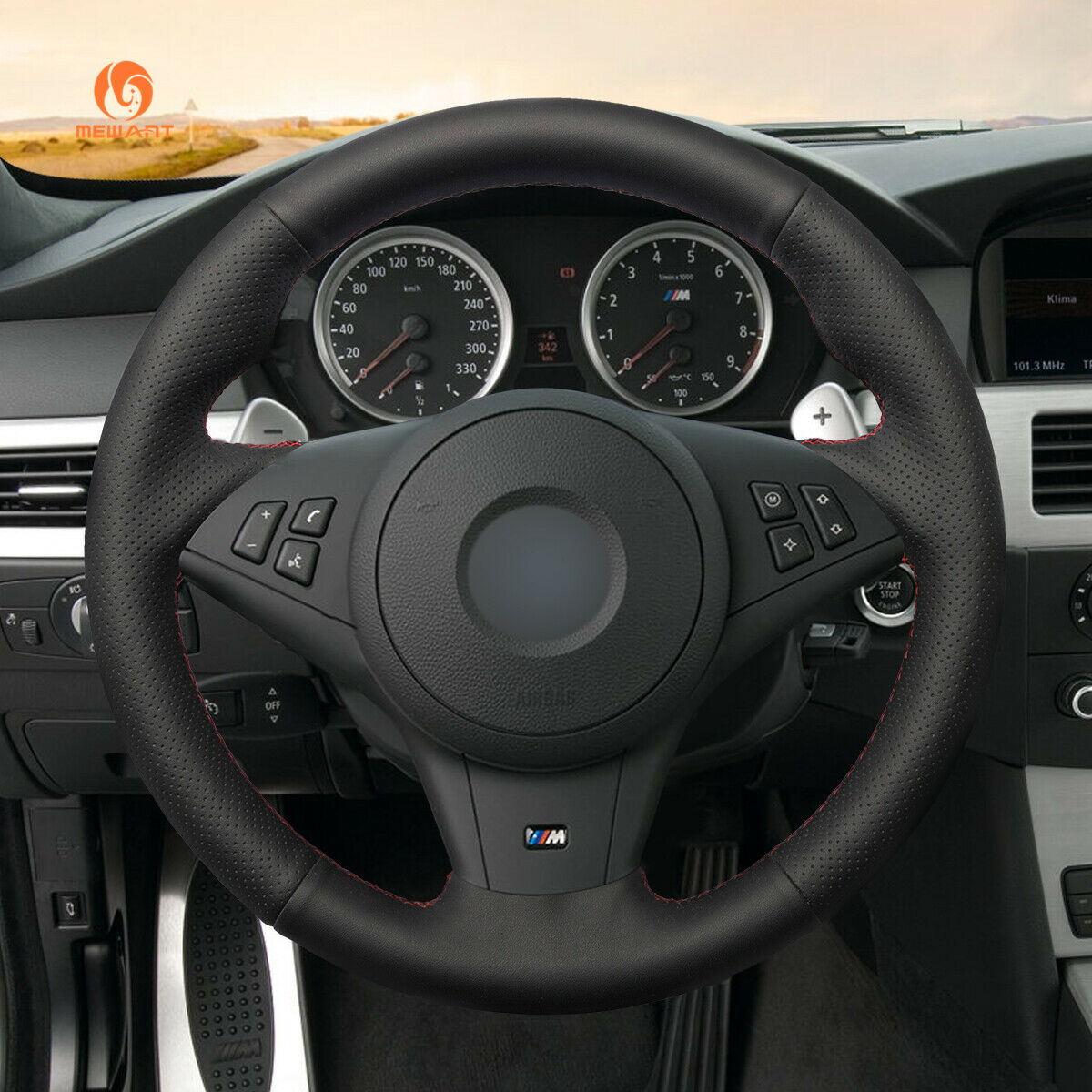 BMW Steering Wheel Clip E60 E61 E63 E64 Aluminium Black Sanded Foil Sticker