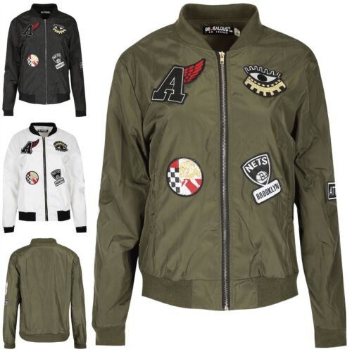 Le donne Brookyln BADGE Baseball Colletto Manica Lunga Zip Motociclista Cappotto Bomber