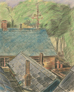 Frederick P. Cooke (1896-1978) - 1948 Crayon, Sketch on Roof Tops