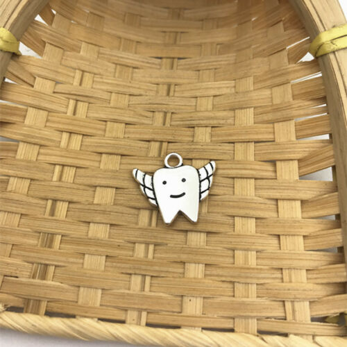 4 pcs Tibet silver Tooth Fairy Charms 20x17mm DIY Jewellery Making crafts