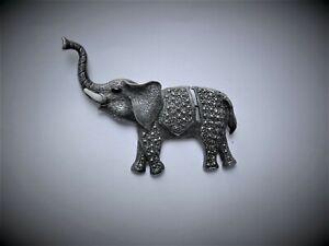Marcasite elephant brooch