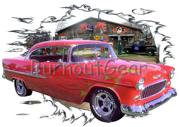 1955 ROT Flames Chevy Hard Top Custom Hot Rod Garage T-Shirt 55 Muscle Car Tee's