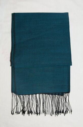 a verde Satton cachemire di mano Nepal blu Sciarpa lana Super avvolto in Pashmina Fine MSUzVp