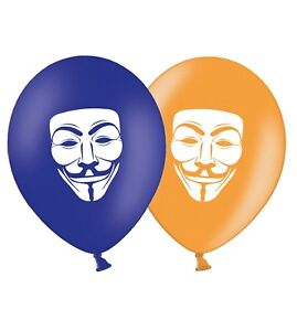 Guy-Fawkes-Mask-12-034-Printed-Latex-Balloons-Blue-amp-Orange-Assorted-pack-of-5