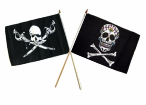"12x18 12/""x18/"" Wholesale Combo Pirate Brethren Coast /& Sugar Skull Stick Flag"