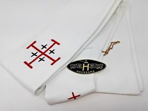 Houssard-Vintage-Frances-Clerigo-Estola-Hecho-a-Mano-Cruz-Bordado-Emblema-21-3ms