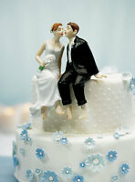 Whimsical Sitting Bride And Groom Couple Wedding Cake Topper Figurine Porcelain