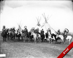 NATIVE-AMERICAN-COLUMBIA-PLATEAU-INDIANS-ON-HORSES-PHOTO-ART-REAL-CANVAS-PRINT