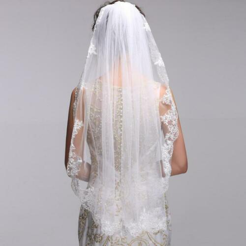1T Soft Tulle white//ivory Wedding Veil Lace Fingertip Bridal Veil with Comb
