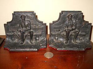 Antique Abe Lincoln Sitting On Bench Bookends Capitol Bldg