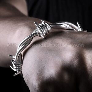 Details About Barb Wire Bangle Bracelet Mens Barbed Wristwear Solid Sterling Silver