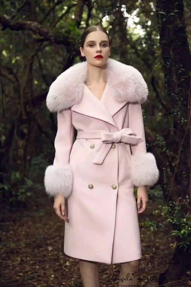 Marie Elie Luxury Belt Fur Trench Coat