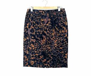 M-amp-S-Woman-Animal-Print-Skirt-Size-Uk-10-Knee-Length-Cotton-Soft-Feel-Career