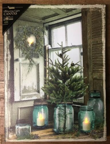 Mason Canning Jar Candle Lighted Christmas Tree Canvas Prmtv Light Up Picture