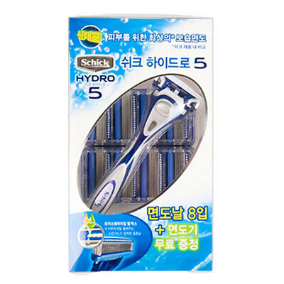 [Schick] Hydro 5 Manual Razor, Men - 1 Razor + 1 Blades + 8 Refill Cartridges