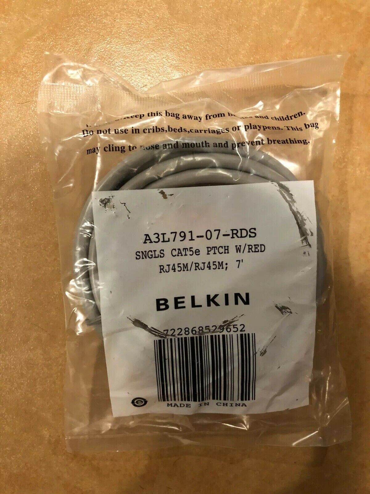 A3L791-07-BLU-M Belkin 7FT Cable Patch CAT5 UTP-4PR RJ45M BLU Molded