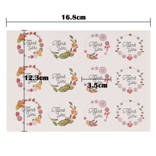 60//120pc Thank You Label Flower Seal Adhesive Sticker Packaging Tag Decor Crafts