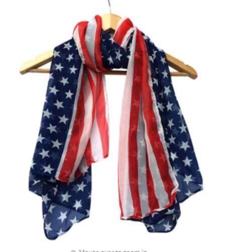 USA Big American Flag Silky Scarf Girls Ladies Hair Band Shawl America 175x135CM