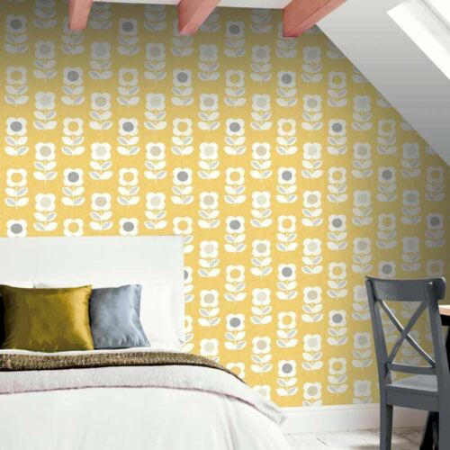 Arthouse Retro 60s 70s Floral Yellow Mustard Grey Flowers Wallpaper 902305