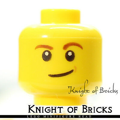 LEGO Minifigure Head YELLOW Male Brown Eyebrows White Pupils Lopsided Smile