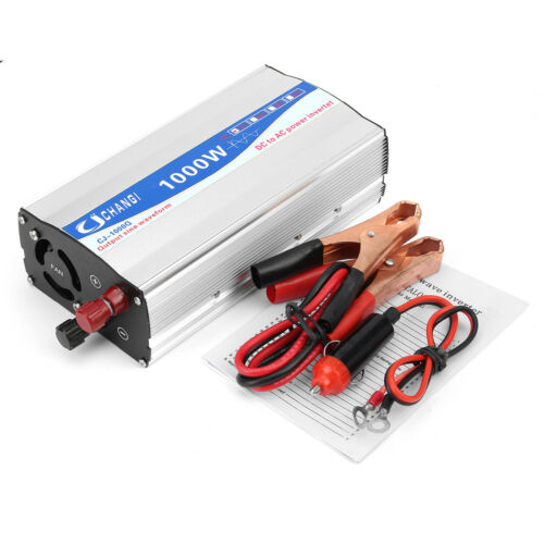 1000W Car Power Inverter DC 12V to AC 220V Pure Sine Wave Convertor Charger
