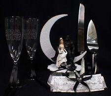 Star War Wedding Cake Topper Darth Vader LOT Glasses Knife and Server set garter