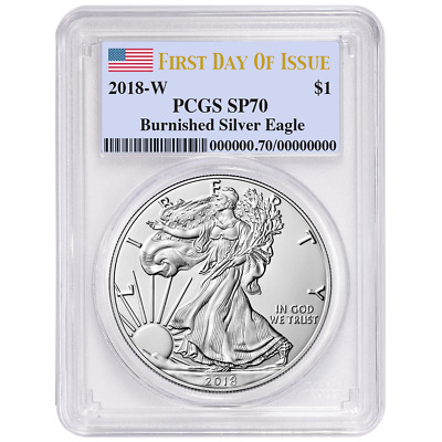 2018-W Burnished $1 American Silver Eagle PCGS SP70 First Strike West Point Labe