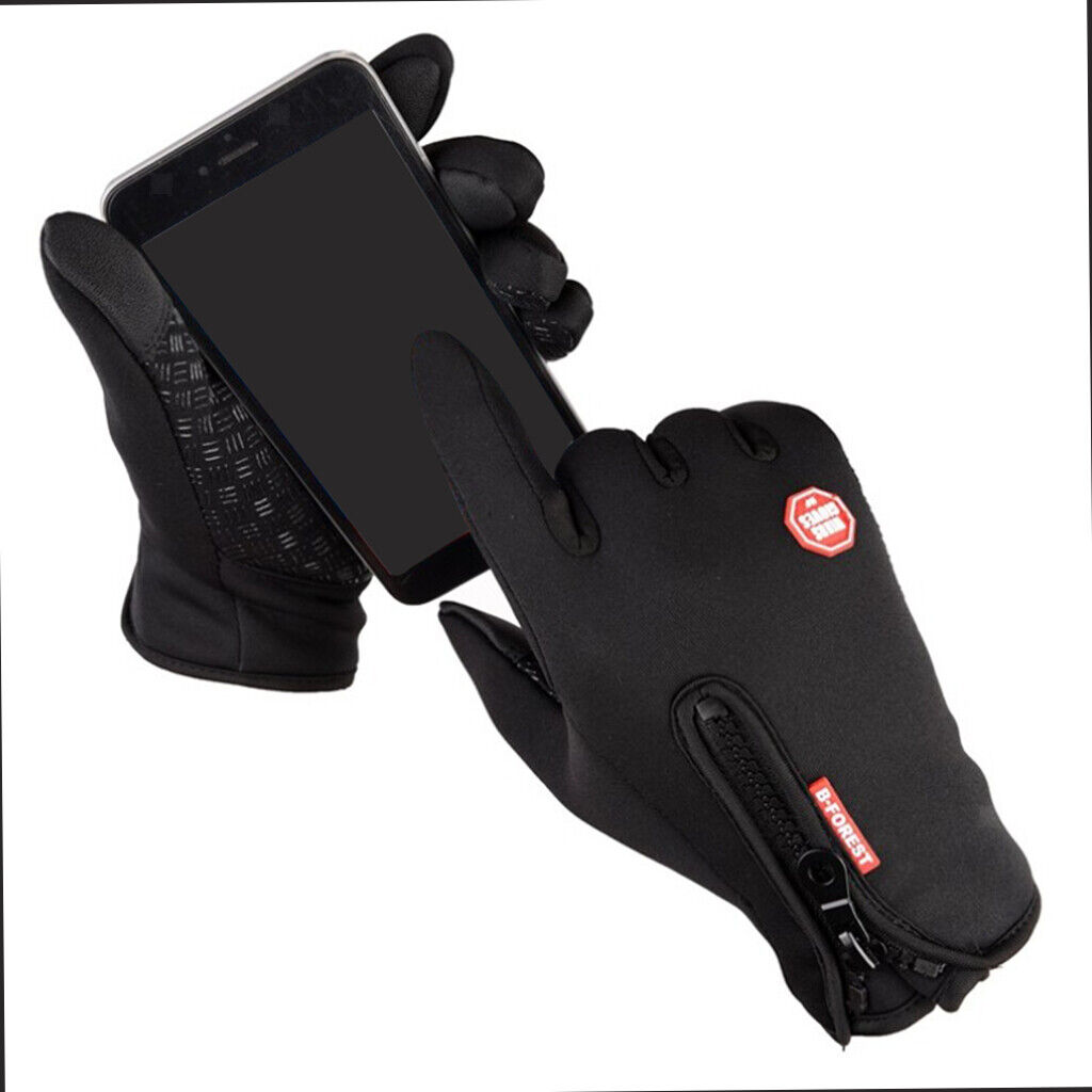 1 Pair Men's Gloves Thermal Fleece Cycling Glove Touch Screen Ski Mitten
