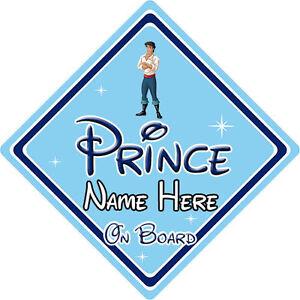 Personalizado Disney Príncipe A Bordo Coche Firmar-Sirenita Príncipe Eric DB