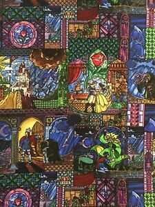 Disney Beauty The Beast Stained Glass Belle Cotton Fabric 1 2 Yard 18 X 44 Ebay