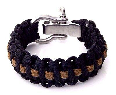 Premium 550 Paracord Survival Bracelet Black White Blue Stripe S//S Shackle USA