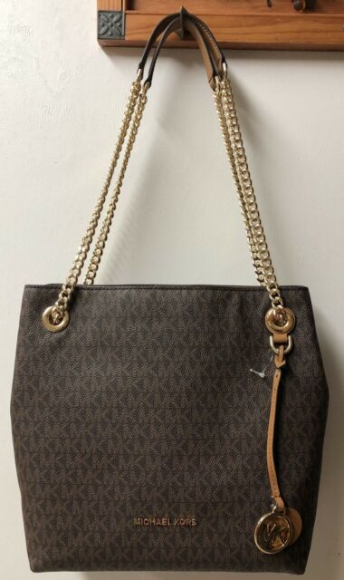 93a6a2e5c8dd Michael Kors Jet Set Chain Medium Brown Tote Shoulder Bag 38t8co1eb ...