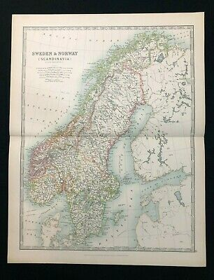 1893 Antique Victorian Atlas Map Sweden & Norway Scandinavia Handy Royal Atlas
