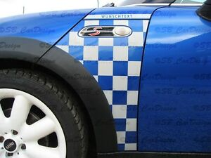 Kotfluegel-Aufkleber-Fender-Decal-f-MINI-COOPER-R50-R53-CHECKMATE-Look-One-Works