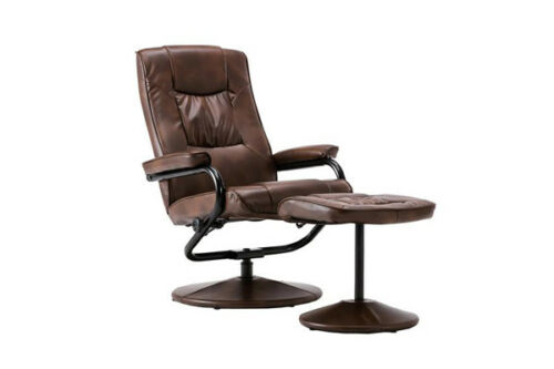 Details about Torino Swivel Recliner Chair and Footstool Faux Tan Leather