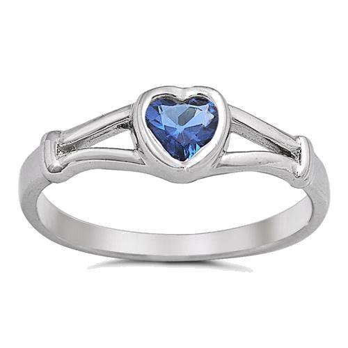 USA vendeur Coeur Anneau Argent Sterling 925 Best Baby Bijoux Saphir bleu taille 5