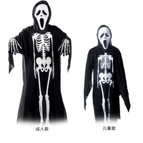 Fashion Men Kids Costume Set Halloween Party Skeleton ghost Cosplay clothes