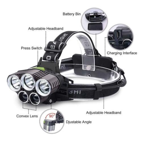 100000LM 5XT6 LED Headlamp USB Rechargeable Headlight Flashlight Head Torch Lamp