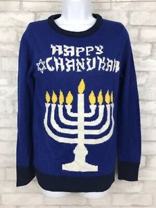 Happy Chanukah Menorah Blue Festive Women Sweater Holiday Size Small